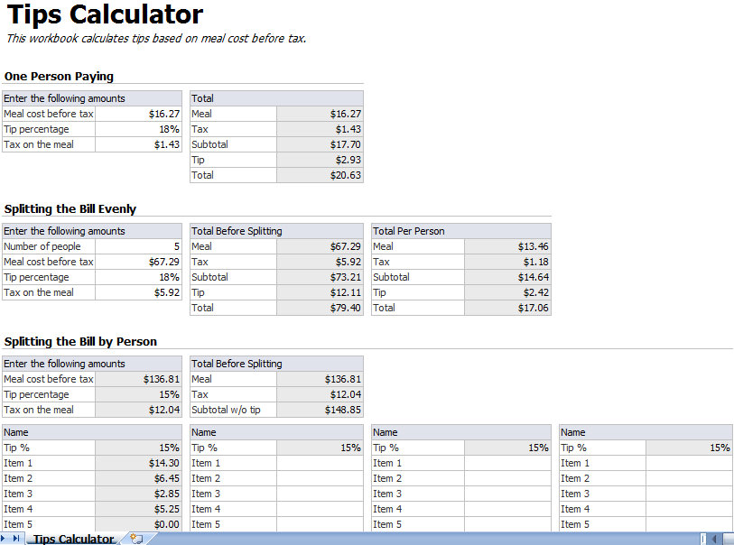 tip calculator template tip calculator excel template