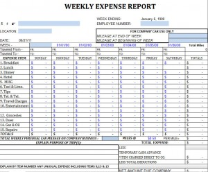 Weekly Expense Report Sheet