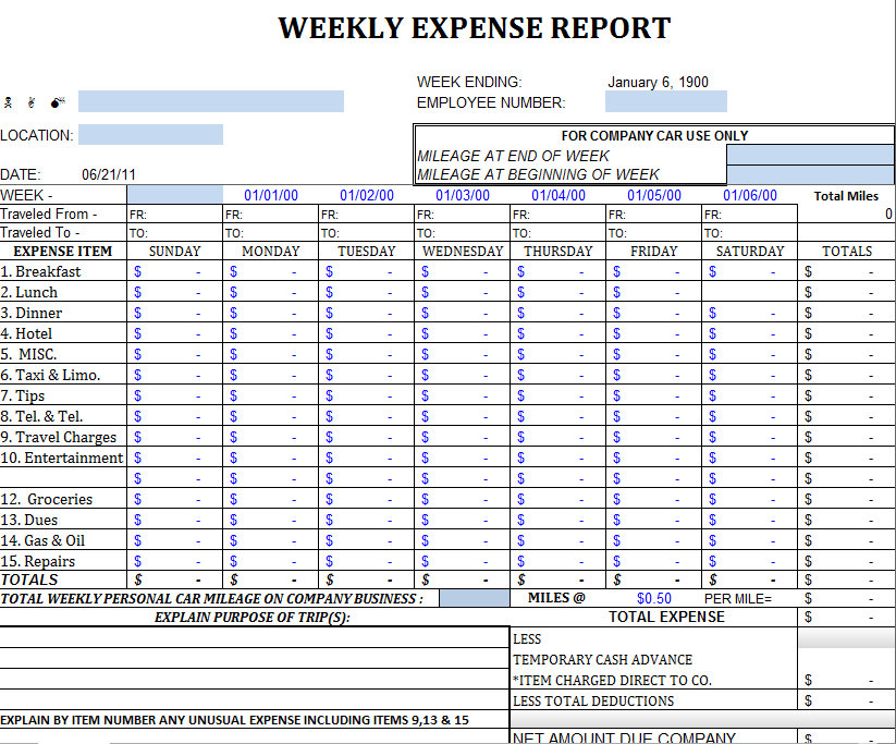 weekly expense sheet