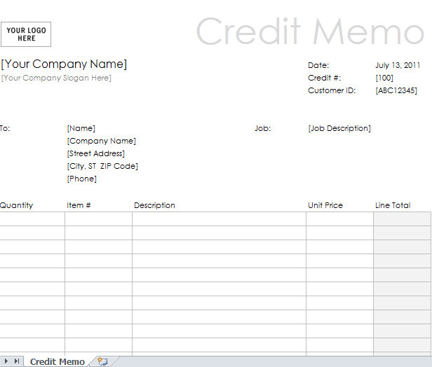 Excel Credit Memo Example Template | Credit Memo Form