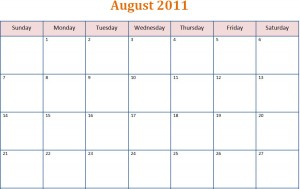 Printable Blank PDF August 2011 Monthly Calendar