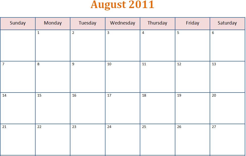 Printable Blank PDF August 2011 Monthly Calendar | Printable Blank ...