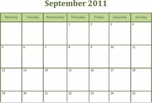 Printable Blank PDF September 2011 Monthly Calendar