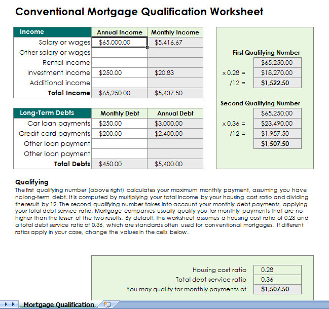 Worksheet Mortgage Worksheet mortgage qualification calculator spreadsheet spreadsheet