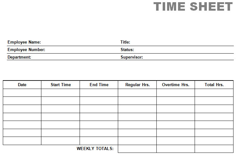 Blank Time Sheet Form | Printable Blank Time Sheet Form