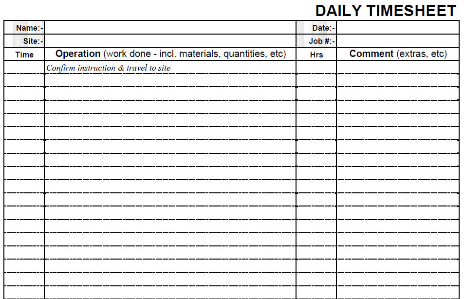 Printable Blank Daily Pdf Time Sheet Form | Time Sheets Printable