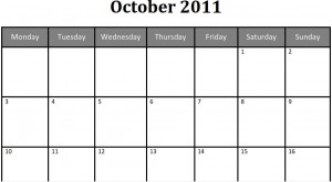 Printable Blank PDF October 2011 Monthly Calendar