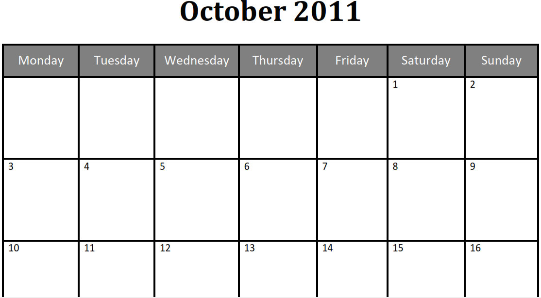 Printable Blank Pdf October 2011 Monthly Calendar | Printable