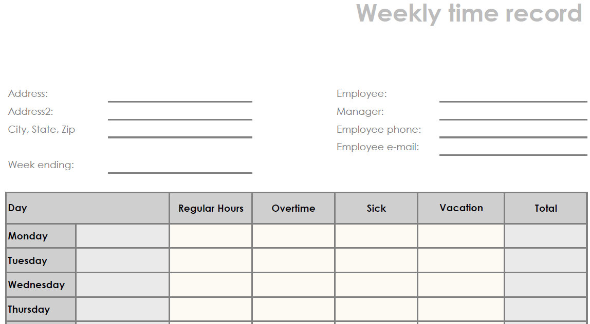 It's just a picture of Dashing Printable Weekly Time Sheet