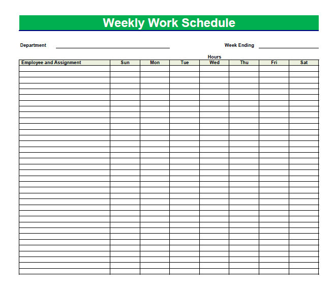 Weekly Schedule Chart | Template