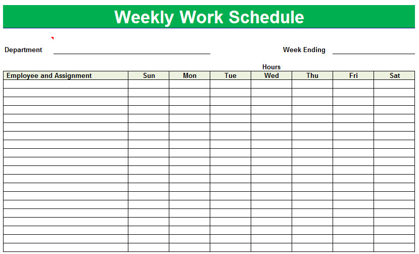 Blank Printable Weekly Schedule | Printable Weekly Schedule