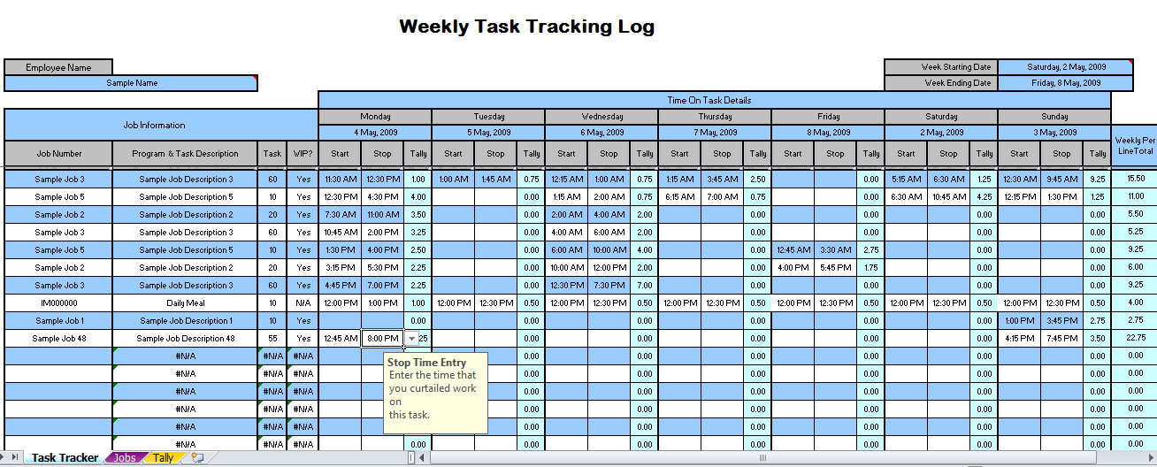 Weekly Time Tracking Spreadsheet | Weekly Time Tracking