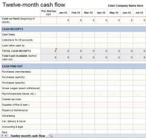 Elegant 12 Month Cash Flow Statement Excel Template