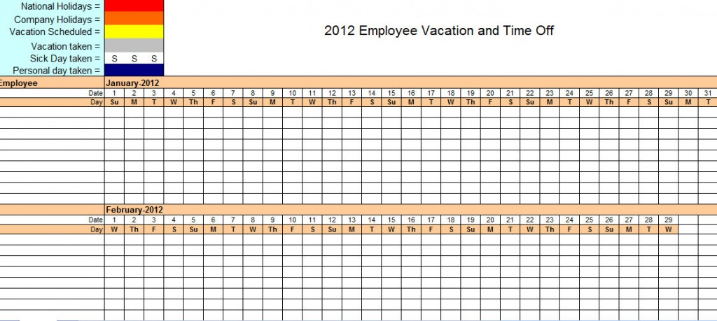 2012 Employee Vacation Tracking Calendar Template
