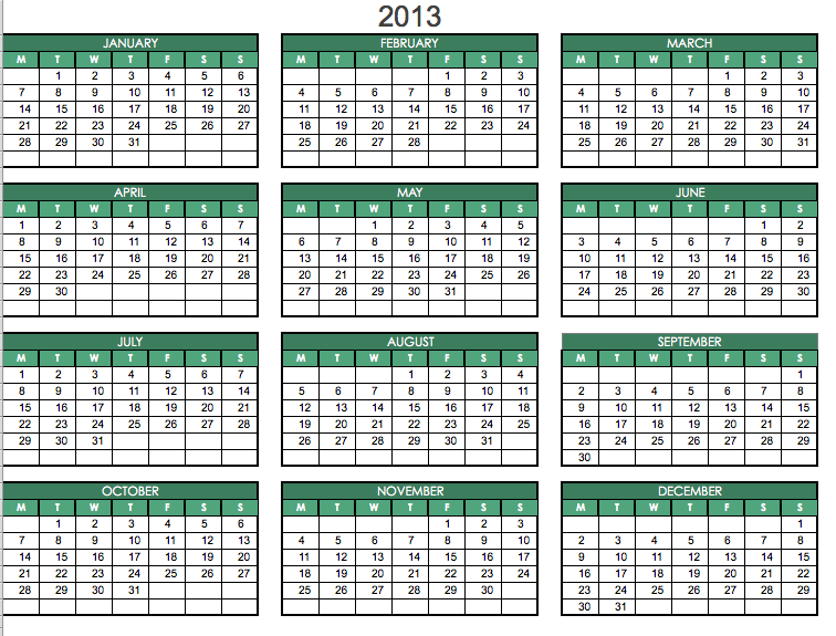 printable 2013 pdf one page yearly calendar