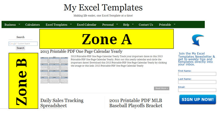 Advertising Rates My Excel Templates Front Page