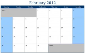 February 2012 Printable Monthly Calendar Template