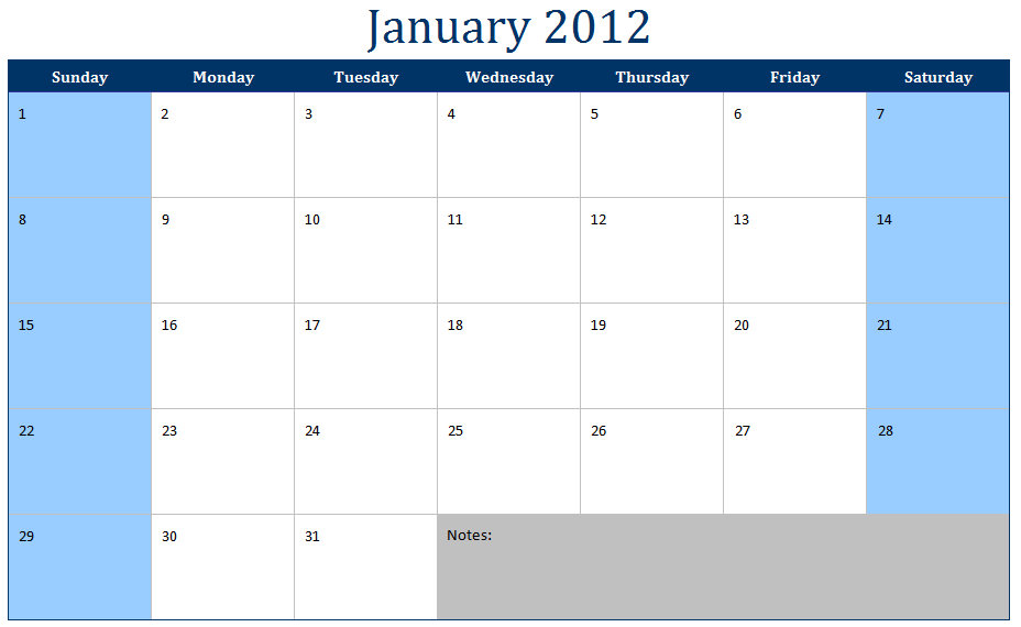 January 2012 Printable Monthly Calendar Template