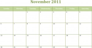 Printable Blank PDF November 2011 Monthly Calendar