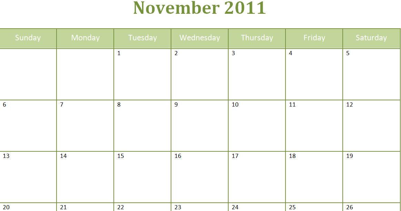 Monthly Calendar Planner November : Printable blank pdf november monthly calendar
