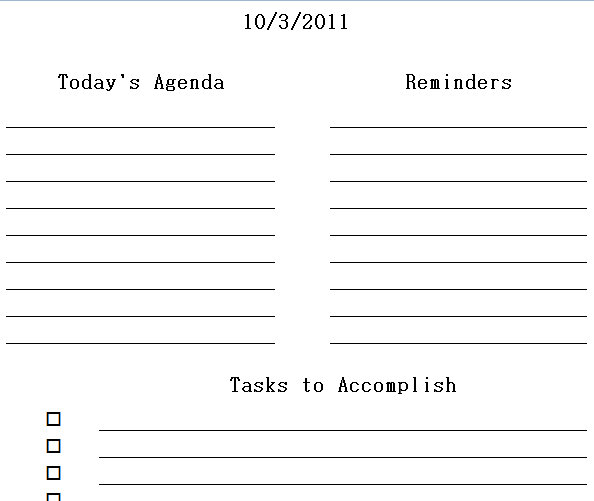 Printable Daily Planner Excel Templates | Daily Printable Planner