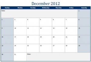 December 2012 Printable Monthly Calendar Template