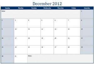 December 2012 Printable Monthly Calendar Template