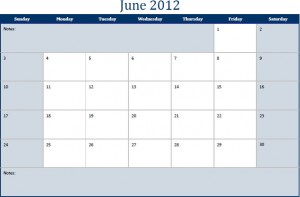 June 2012 Printable Monthly Calendar Template