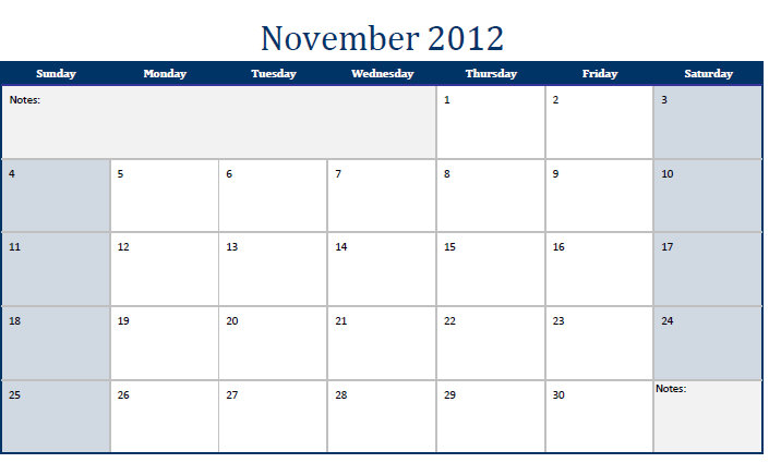 November 2012 Printable Monthly Calendar Template