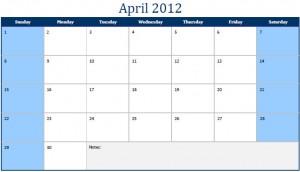 Printable PDF April 2012 Calendar