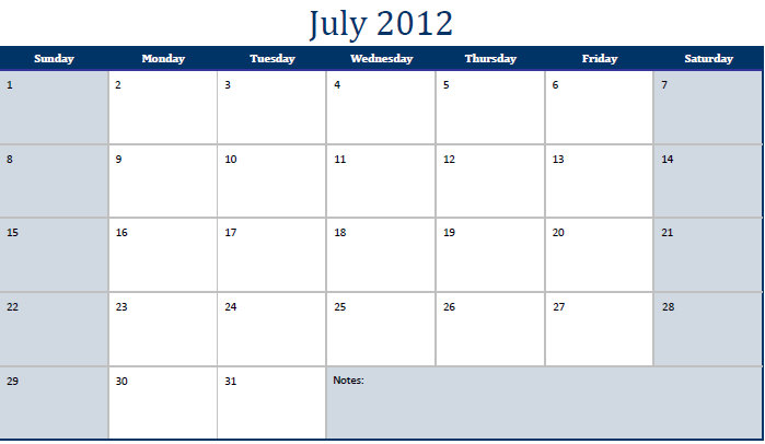 Printable PDF July 2012 Calendar