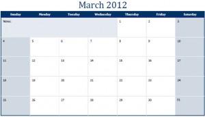 Printable PDF March 2012 Calendar