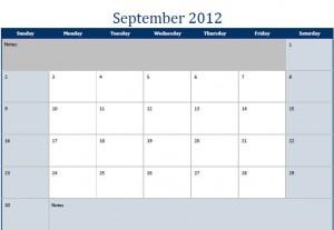 Printable PDF September 2012 Calendar