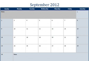 September 2012 Printable Monthly Calendar Template