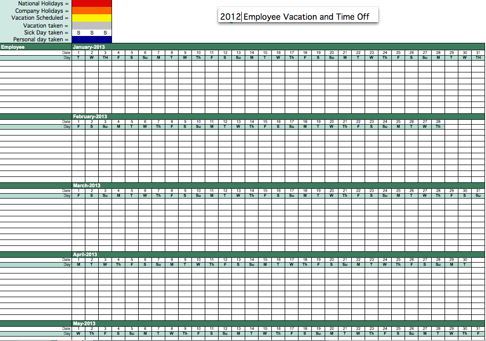 2012 Employee Attendance Tracker – Sample Attendance Tracking