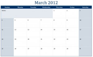 March 2012 Printable Monthly Calendar Template