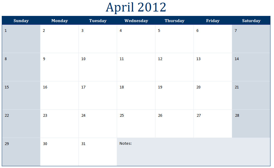 April 2012 Printable Monthly Calendar Template