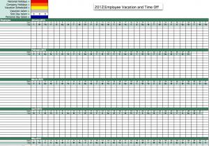 2012 Employee Attendance Tracking Calendar