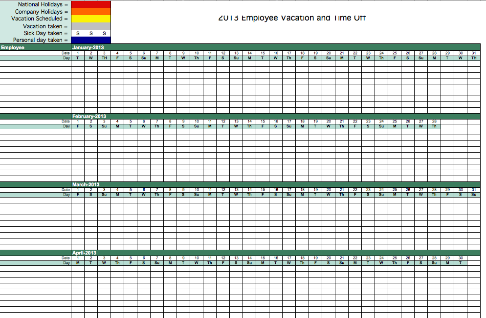 2013 employee attendance tracking calendar. Black Bedroom Furniture Sets. Home Design Ideas