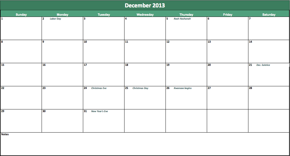 2013 Monthly Calendar Template For Excel