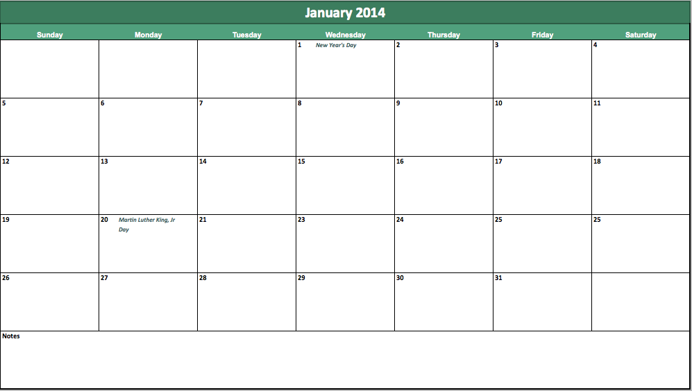 2014 monthly calendar template excel