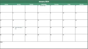 2014 holiday calendar template