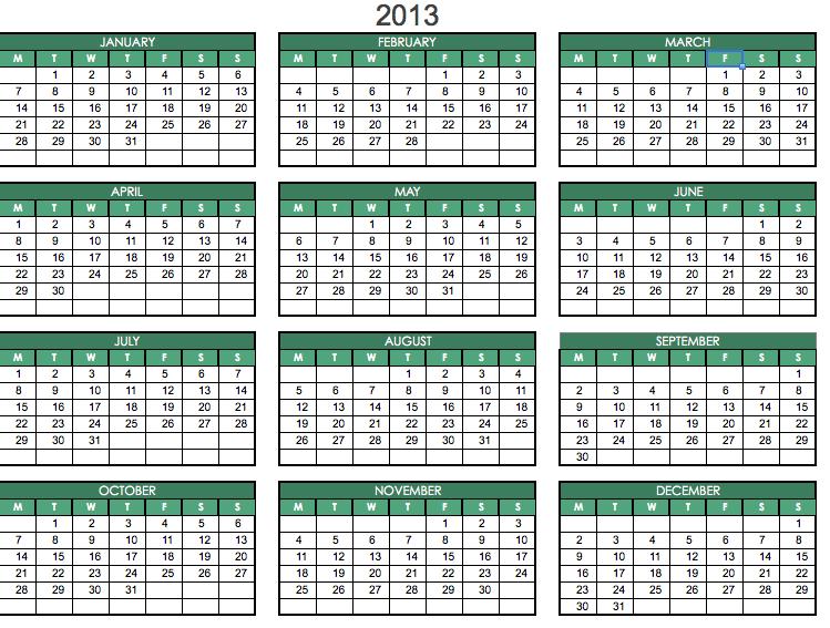 Excel 2013 Calendar Template