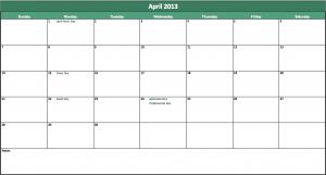 april 2013 calendar template