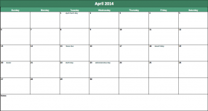 april 2014 calendar template