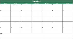 august 2013 calendar template
