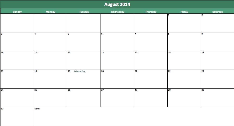 free august 2014 calendar