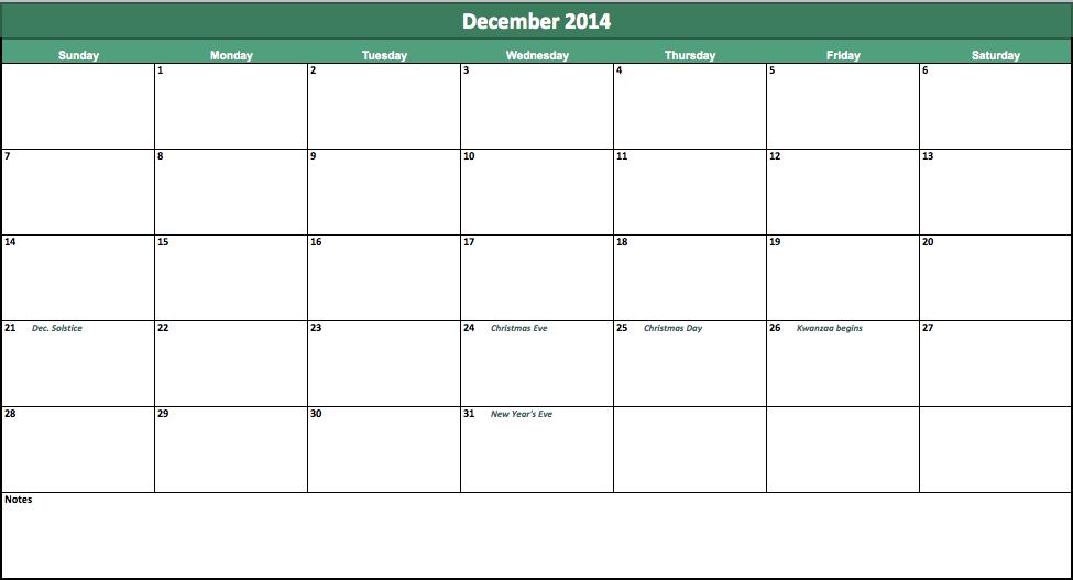 december 2014 calendar template