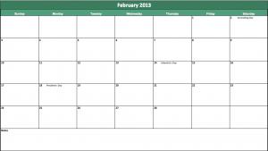 free february 2013 calendar