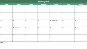 february 2013 excel calendar template